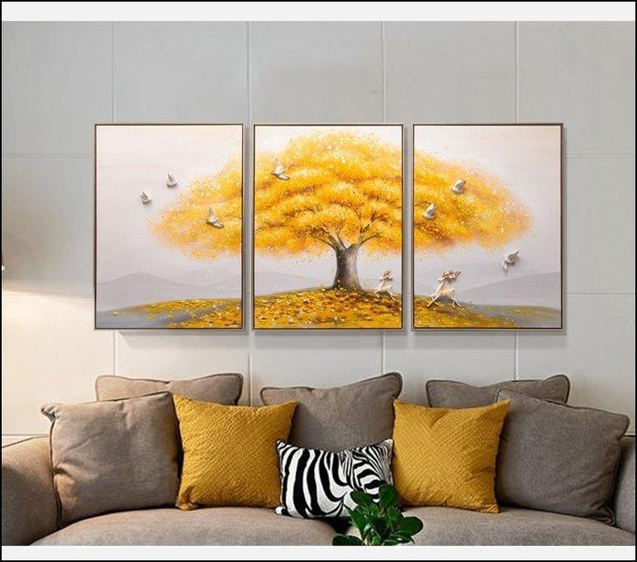 北歐風簡約風 立體金色滿園 手工油畫 客廳裝飾畫 80*180公分 立體小鳥掛飾掛畫 現代風牆壁裝飾品吊飾【歐舍傢居】