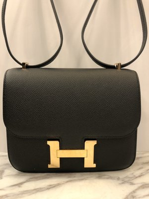 【 RECOVER 名品二手已售出】Hermes Mini Constance 18cm 黑色康康包金扣 EPSON