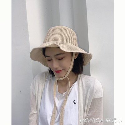 帽子韓版女chic薄款針織漁夫帽日系軟妹防風繩綁帶遮陽盆帽潮