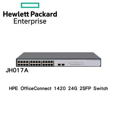 HPE (JH017A) HPE 1420-24G-2SFP Switch 24埠 GbE 無網管網路交換器