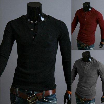 『潮范』 W08 新款純色修身紐扣長袖針織衫圓領素面針織衫 素面毛衣 素面T恤 長袖T恤NRB2534