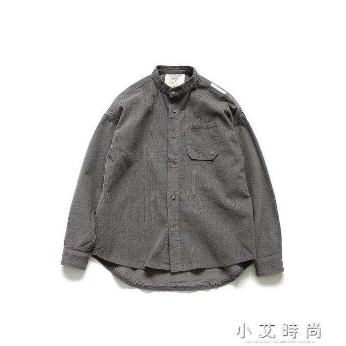 港風日系男裝立領純色修身燈芯絨休閒襯衫 【粉紅記憶】