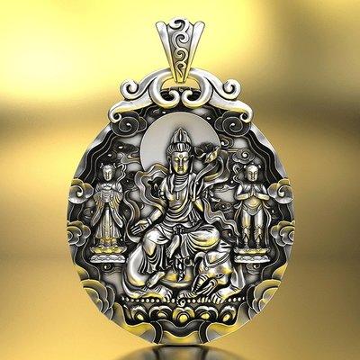 【睿智精品】990銀飾 神像 佛像 普賢菩薩吊墜 十二生肖屬(龍)(蛇)本命佛(GA-4828)