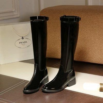 真皮長靴 粗跟靴子-帥氣英倫風時尚漆皮女鞋73iv11[獨家進口][米蘭精品]