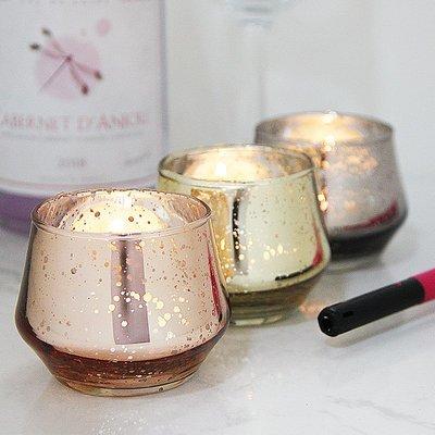 熱銷#簡約彩色電鍍斑點杯形玻璃燭臺浪漫家居酒吧裝飾擺設送電子蠟#燭臺#裝飾
