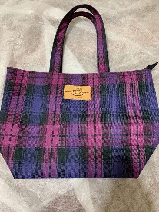 (二手現貨)uma hana 時尚籃 紫格紋 手提包 布款 賣場內尚有蕾莉歐商品