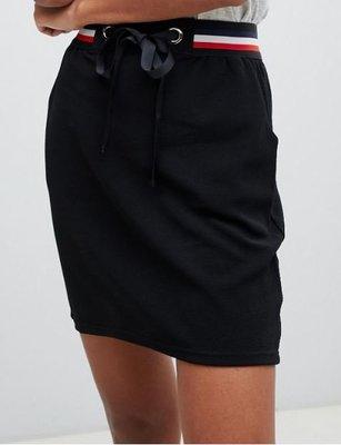 紅白腰際蝴蝶結調整綁帶黑色口袋短裙 Emilia skirt with sports stripe waistband
