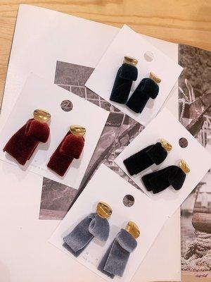 韓國❤️絲絨 緞帶 垂耳 耳環 / 夾式 耳環【Verinas韓系美飾】