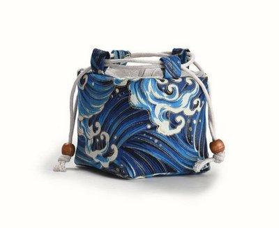 【茗壺居】單杯棉麻茶具收納袋 旅行外出方便攜帶 茶杯收納 小型簡易多功能藍色波浪方包 桃園市