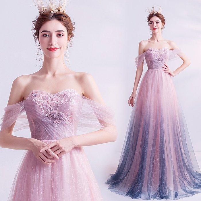 妞妞 婚紗禮服~璨然若仙 漸變粉色星空生日派對宴會婚纱長禮服~3件免郵