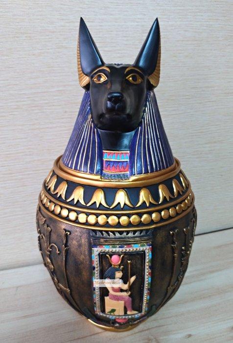點點蘑菇屋 歐洲精品~埃及狗神頭卡諾皮克罐 卡諾卜罈 卡諾波罐 擺飾 古埃及文明 埃及古文 圖騰 藝術品 免運費