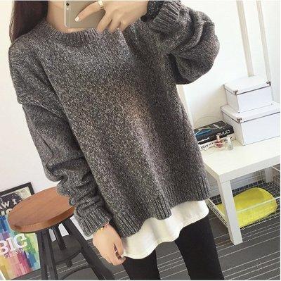 Color Fashion秋季韓版寬鬆套頭毛衣毛呢針織上衣 G825146正韓女裝女衣T恤