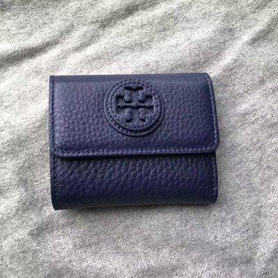 SUNDAY代購 美國正品 Tory burch 1226 三折短款錢夾 摔紋牛皮 藍色