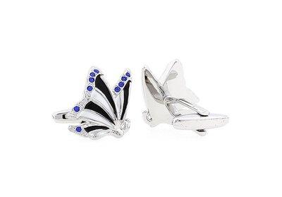 ☆TA精品☆ 男士精品-袖扣  蝴蝶藍色水鑽袖扣  190215