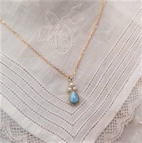 BD09-法式手工輕珠寶-愛像大海系列。溫柔的三顆小珍珠水滴狀海紋石項鍊 925純銀鍍金tiffany co agete