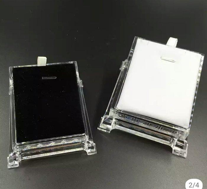 工廠直營~進口壓克力2用黑白絲絨墜子展示盒陳列架耳環架項鍊盒8*6*4公分~1打990免運