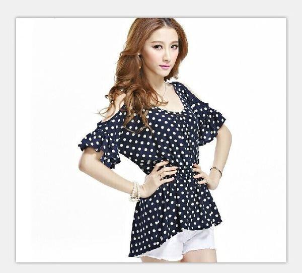 ☆Candy Box☆新款夏装韓版女裝寬鬆大碼胖mm圓點百搭短袖上衣雪纺衫 藍 Y2311552