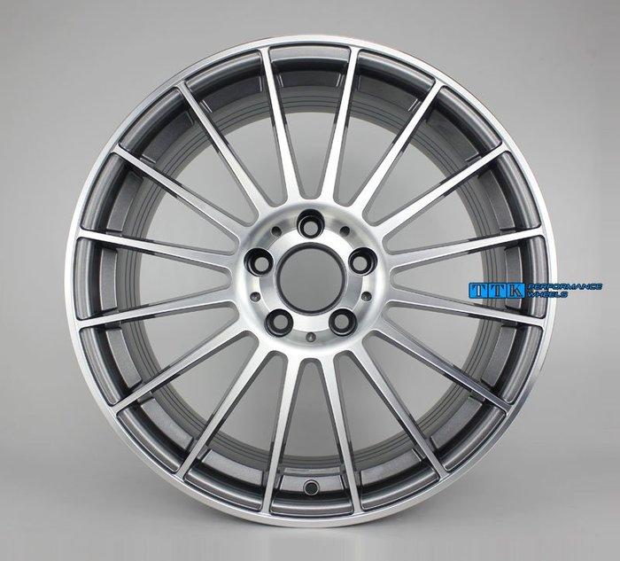 【台灣輪胎王】 2018新款台灣製MF08 類AMG 輕量化旋壓製品 18吋 5孔112 灰底車面 (配胎套餐大折扣)