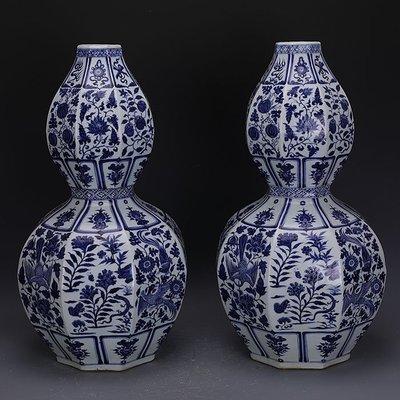 ㊣三顧茅廬㊣  元青花手繪花鳥草蟲瓜果葫蘆瓶一對官窯文物   瓷器古玩古董收藏