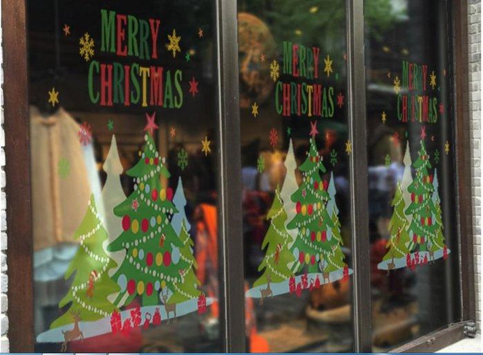 小妮子的家@靜電無膠全透明玻璃貼膜~/辦公室防撞貼膜~聖誕之彩/i