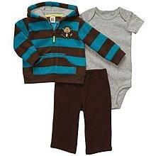 【安琪拉 美國童裝/生活小舖】Carter's 小猴子刷毛3件式套裝 -連帽外套+包屁衣/連身衣+長褲