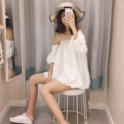 韓國空運連線 韓版 春季新款時尚性感一字肩燈籠袖露肩上衣女寬鬆顯瘦純色抹胸吊帶潮 超顯瘦上衣
