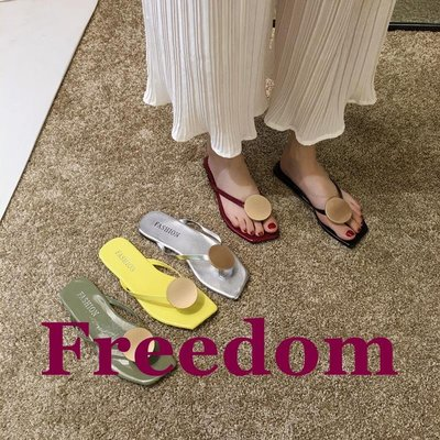Freedom女鞋網紅人字拖鞋女夏外穿2019新款正韓休閒百搭平底防滑夾趾沙灘涼拖