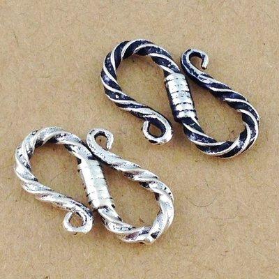 「還願佛牌」925純銀 配件 螺紋S扣 扭曲紋 S勾 手鍊 搭扣 項鍊扣