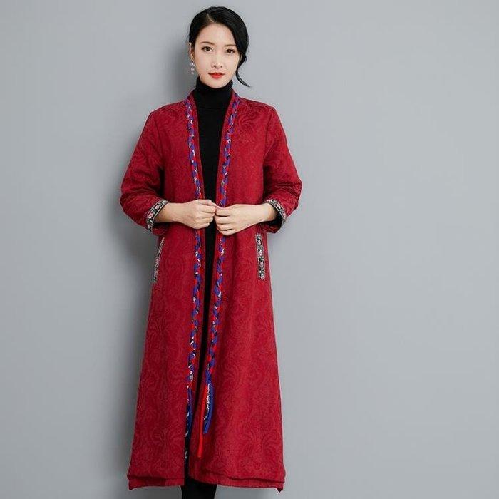 文藝民族風復古織帶長袖茶服棉麻提花外套流行風衣洋裝