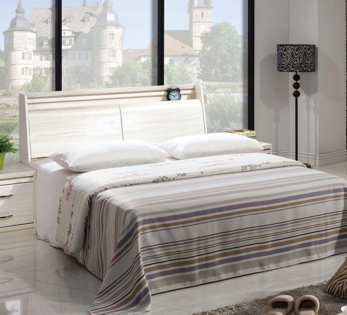 【DH】貨號E526-10名稱《馬克斯》5尺白雪松鏡木心板床台(圖一)床頭箱可掀置物.備有胡桃色可選台灣製.可訂做