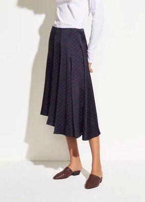 真絲緞半身裙 21春夏美國V家 素绉緞真絲 撞色波點葉子印花斜裁不規則半身裙 賣場2件9折3件8折特價無折