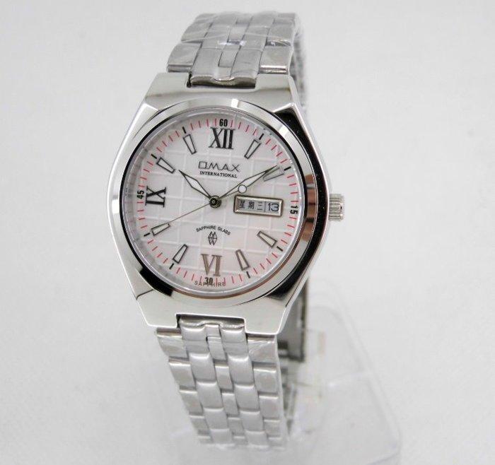 【 幸福媽咪 】OMAX 歐瑪士 日本機芯 藍寶石 日期/星期防水不鏽鋼石英錶 白面 36mm 4109