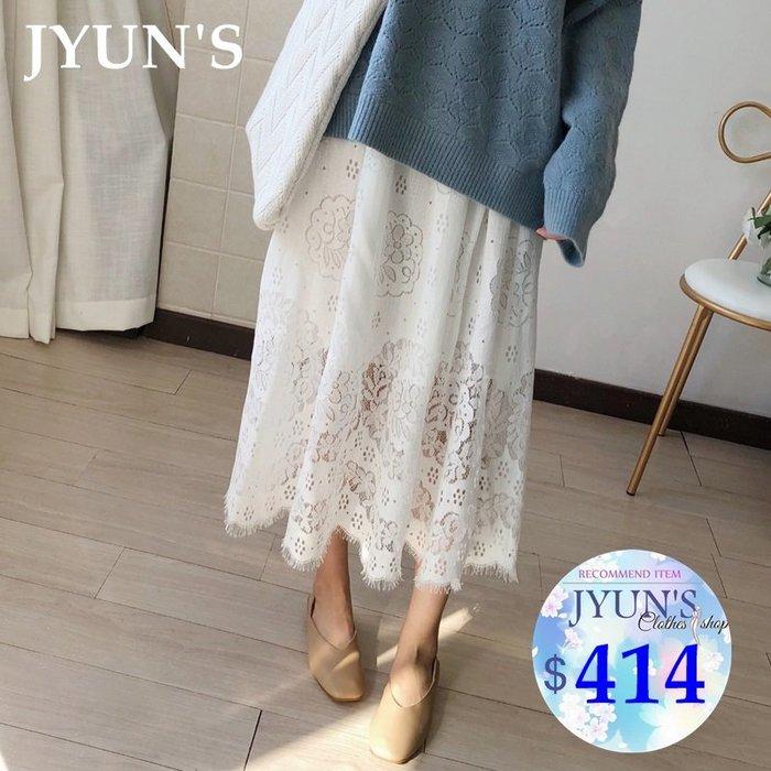 JYUN'S 秋季新款百搭復古森林系小清新原棉色鏤空蕾絲睫毛蕾絲半身裙長裙子 1色 預購
