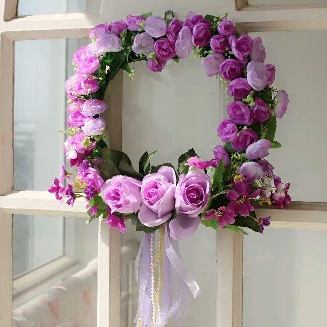 粉紅玫瑰精品屋~浪漫婚慶新房卧室仿真花環裝飾花~紫色