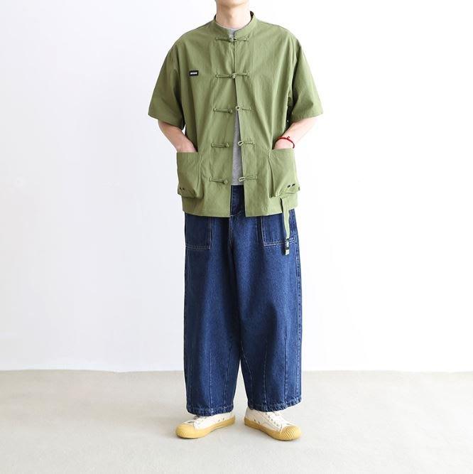 【NoComment】復古時尚 懷舊潮流 中國風盤扣無領短袖襯衫 兩色 Supreme Neighborhood