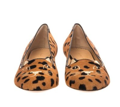 CHARLOTTE OLYMPIA Kitty leopard calf-hair flats 平底 樂福鞋 豹紋