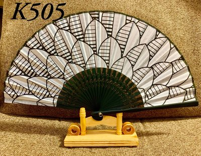 K505日式真絲印花扇子21公分精緻竹骨扇子【麗子精品公司扇子的家】日式扇子批發零售