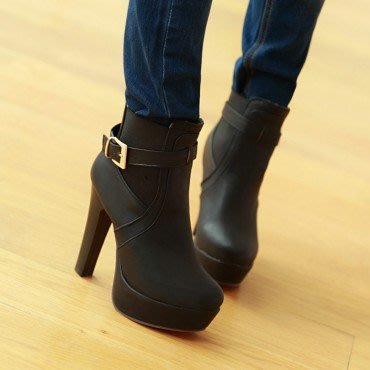 yes99buy加盟-秋冬新款女鞋 皮帶扣松緊口高跟短靴