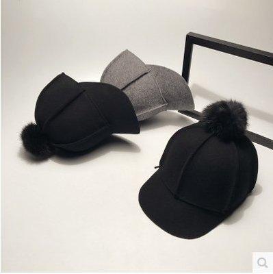 韓版羊毛棒球帽韓國時尚騎士帽毛呢鴨舌帽馬術帽潮