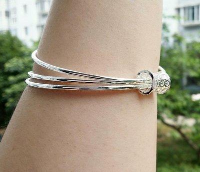 嗨,寶貝銀飾珠寶* 925純銀☆999純銀  三環 鏤空圖騰實心純銀手環 手鐲