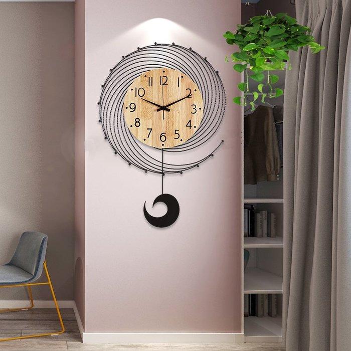 時鐘 掛鐘 北歐現代簡約鐘表掛鐘客廳創意時尚家用藝術掛表實木個性裝飾時鐘
