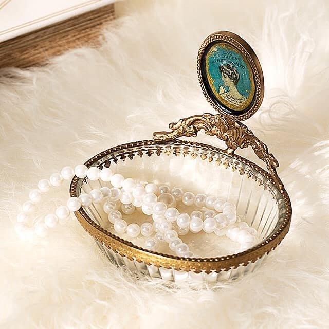 法式餐桌藝術 仿古古典玻璃肥皂盤 首飾飾品盤