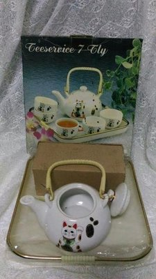 全新 招財貓壺杯盤組