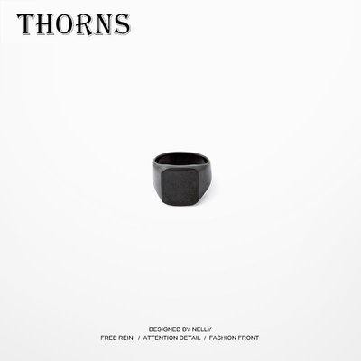 【THORNS】鈦鋼戒指男士情侶對戒指環女 霸氣時尚潮人食指戒子黑色金色銀色