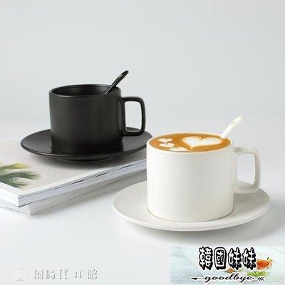 馬克杯 創意復古馬克杯水杯ins黑色陶瓷杯子歐式小奢華咖啡杯套裝帶碟勺   【韓國妹妹】