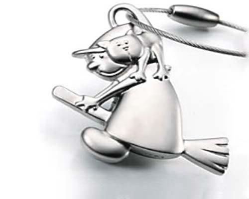 ☆創意小物店☆ 女巫與貓 鋼絲鎖鑰匙扣 / 創意可愛金屬鑰匙圈 時尚造型個性飾品