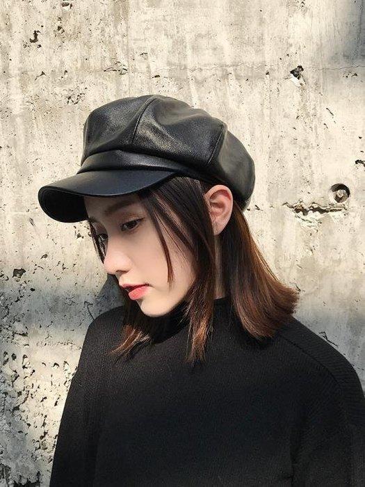 pu皮質八角帽子女英倫潮日系韓版時尚百搭皮帽鴨舌貝雷帽