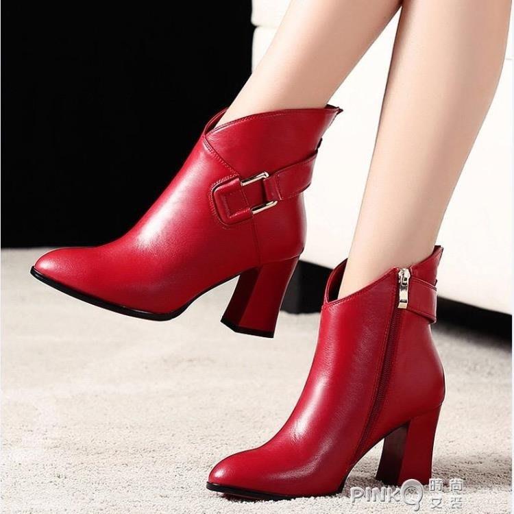 秋冬馬丁靴女粗跟高跟鞋短筒英倫風大東短靴尖頭紅色加絨皮鞋