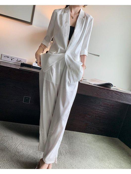 *菇涼家*2019夏装新款休閒套装五分袖西装外套復古直筒长裤兩件套