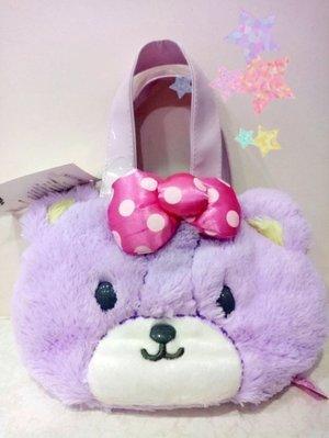 《東京家族》紫色小熊 TINY CHUM 絨毛 小提袋